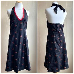 Embroidered Cherry Print Halter Dress Hot Topic